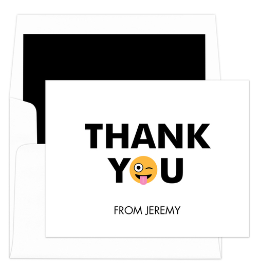 White Silly Thank You Folded Note Cards