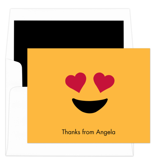 Yellow Heart Eyes Emoji Folded Note Cards