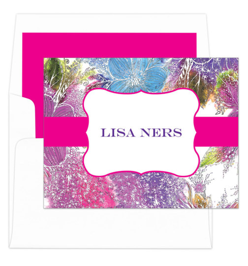 Pink Pansy Foldover Note Cards