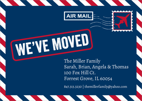 Air Mail Letter Moving Announcements