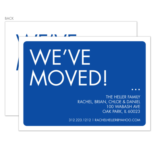 Blue We've Moved Moving Announcements