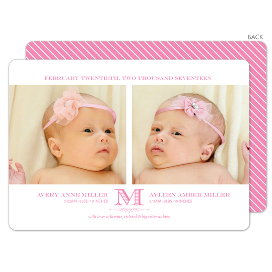 Pink Initial Twins Photo Birth Announcements