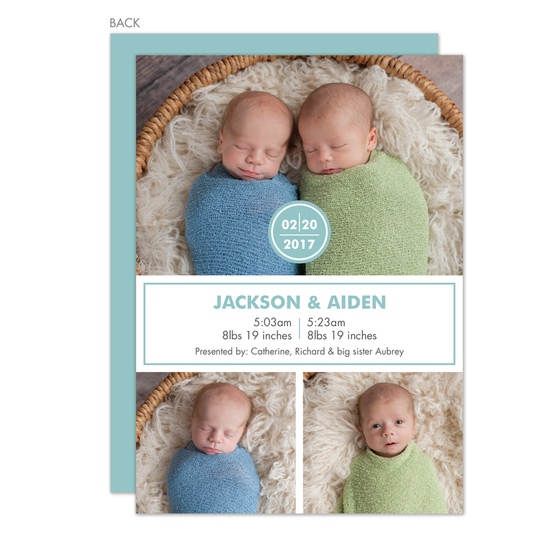 Slate and White Simple Twins Photo Birth Announcements
