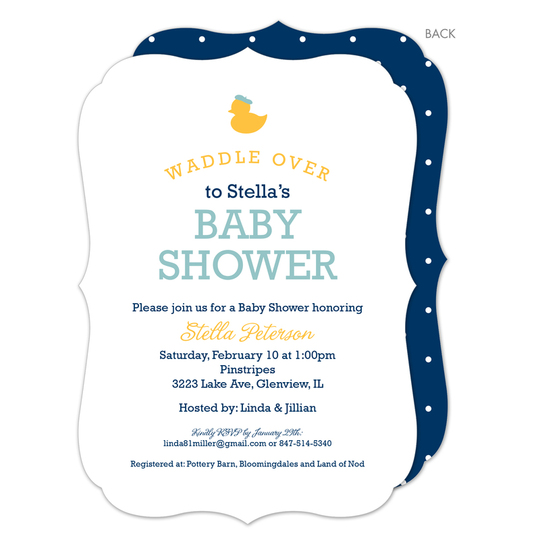 Navy Waddle Over Shower Invitations