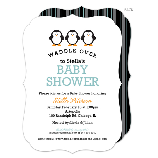 Three Penguin Waddle Over Shower Invitations