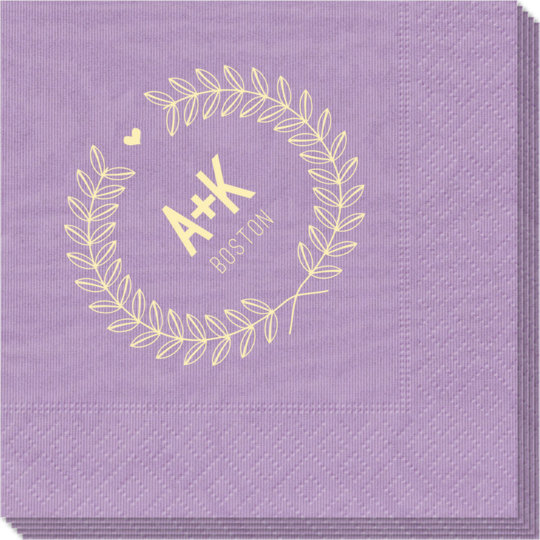 Laurel Wreath with Heart and Initials Moire Napkins