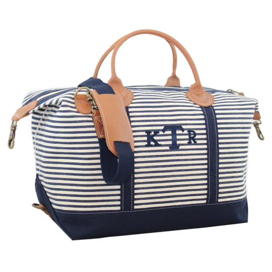 Personalized Navy Stripes Weekender