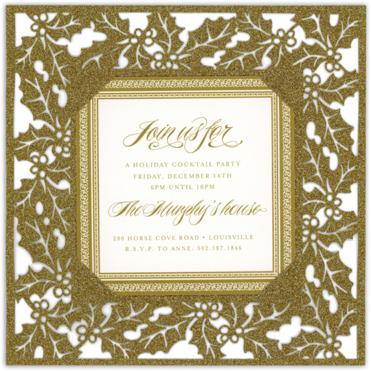 Gold Glittered Holly Die-cut Frame Invitations