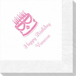 Sweet Floral Birthday Cake Napkins