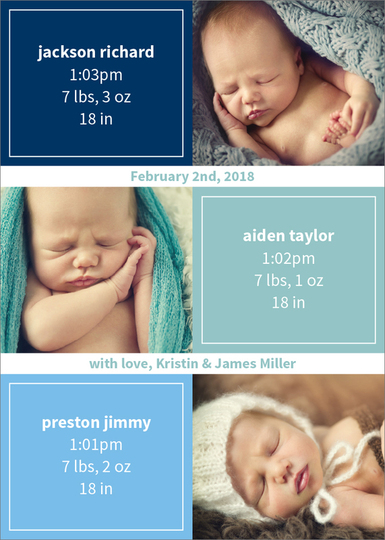 Shades of Color Squares Triplets Photo Birth Announcements