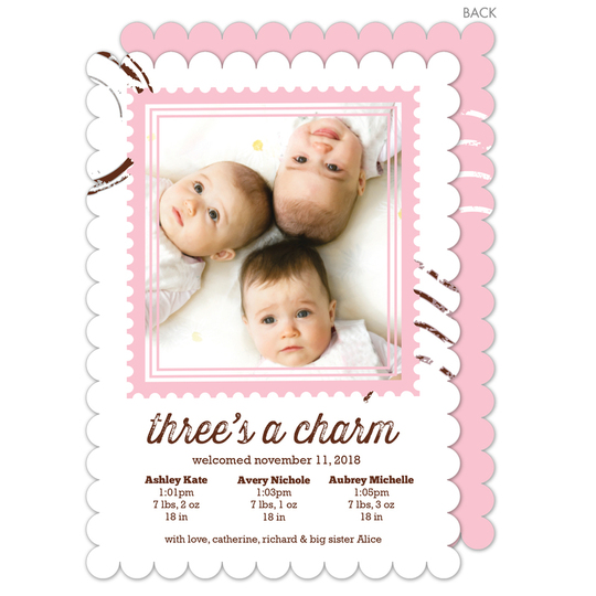 Pink Charming Stamp Triplet Photo Birth Announcements