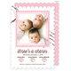 Pink Charming Stamp Triplet Photo Birth Announcements Image 1 of 6