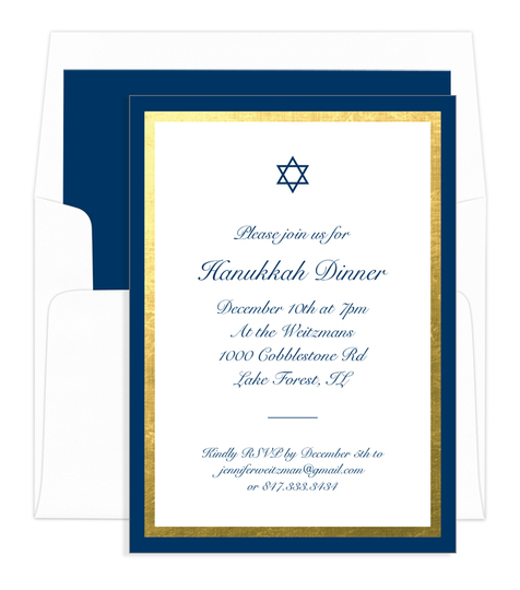 Navy and Gold Foil Border with Star Invitations