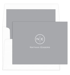 Circle Initials Folded Note Cards