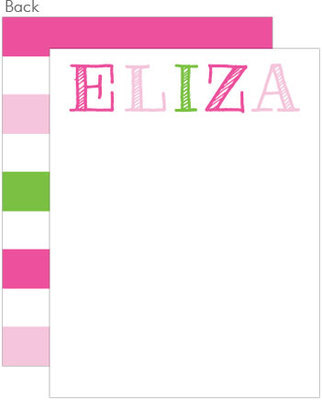 Pink Multi Color Flat Note Cards