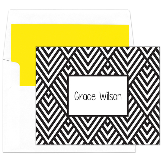 Black Modern Chevron Foldover Note Cards