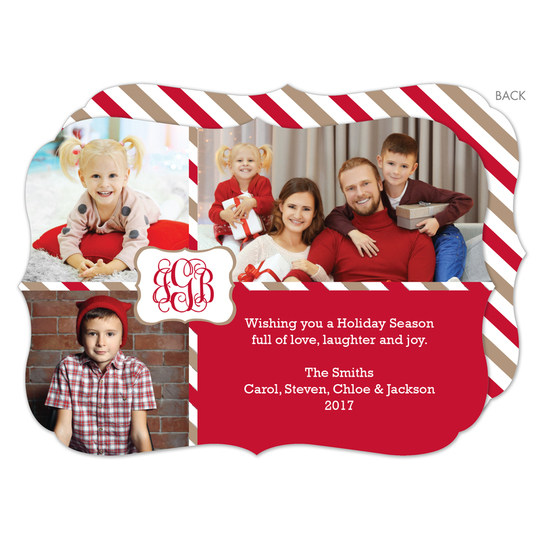 Red Monogram Package Holiday Photo Cards