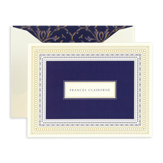 Navy and Gold Folded Note Cards