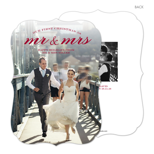 Red Mr and Mrs Holiday Photo Cards
