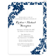 Navy Damask Invitations Image 4 of 12