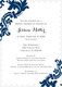 Navy Damask Invitations Image 12 of 12