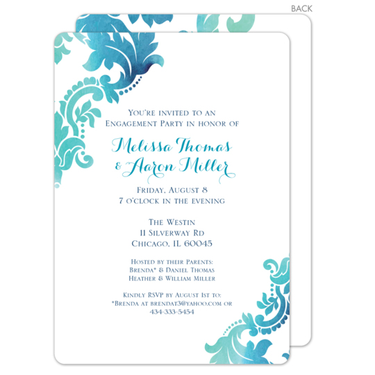Teal Watercolor Damask Invitations