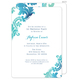 Teal Watercolor Damask Invitations Image 4 of 11