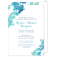 Teal Watercolor Damask Invitations Image 7 of 11