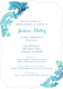 Teal Watercolor Damask Invitations Image 8 of 11