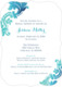 Teal Watercolor Damask Invitations Image 6 of 11
