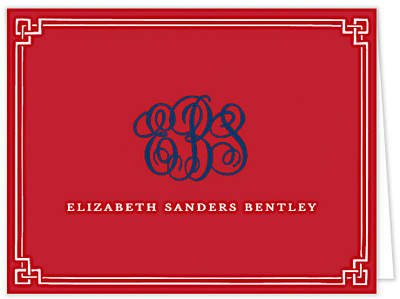 Red Classic Border Folded Note Cards
