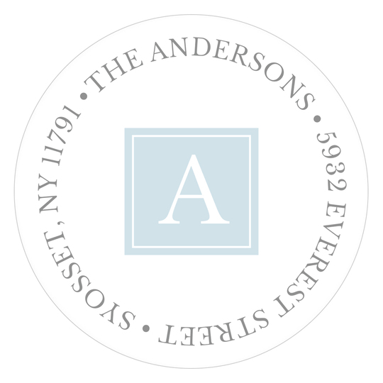 Blue Simply Sweet Round Address Labels