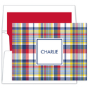 Navy and Red Madras Plaid Foldover Note Cards