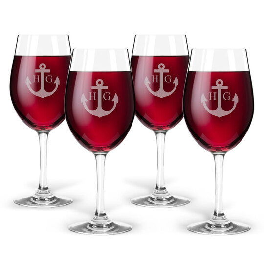 Personalized Tritan Acrylic Wine Set - Anchor + Initials