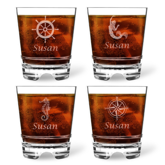 Personalized Tritan Acrylic Double Old Fashioned Set - Nautical Collection