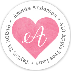 Pink Watercolor Heart Round Address Labels