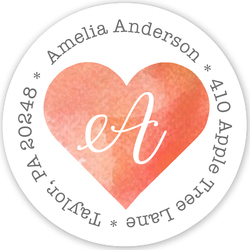 Watercolor Heart Round Address Labels
