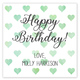 Green Watercolor Petite Hearts Square Gift Stickers Image 1 of 2