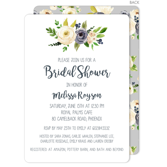 Gray and Ivory Roses Invitations