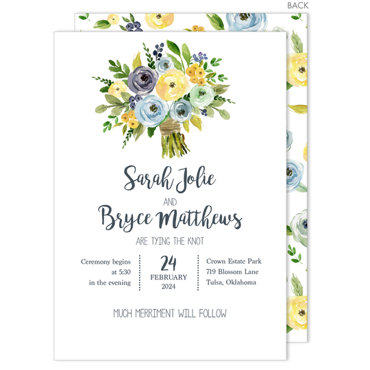 Yellow and Blue Bouquet Invitations
