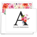 White Floral Bunch Initial Foldover Note Cards
