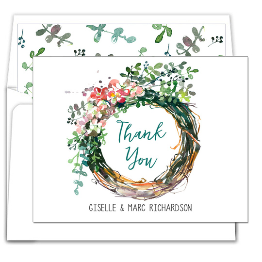 Peony Wreath Folded Thank You Note Cards