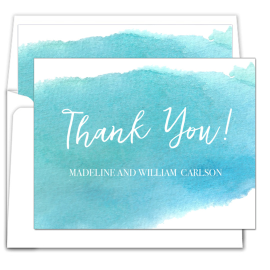 Blue Big Swash Folded Thank You Note Cards