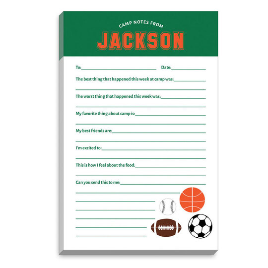 Sports Balls Fill In Camp Notepads