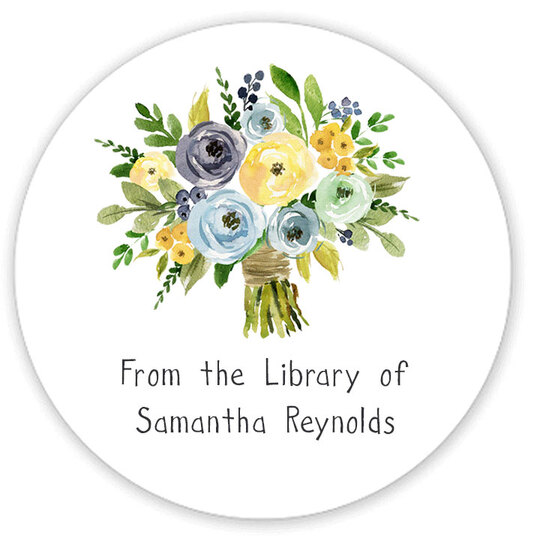 Yellow and Blue Bouquet Library Round Stickers