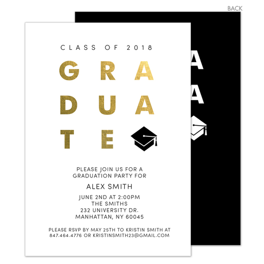 Black with Gold Foil Graduate Invitations