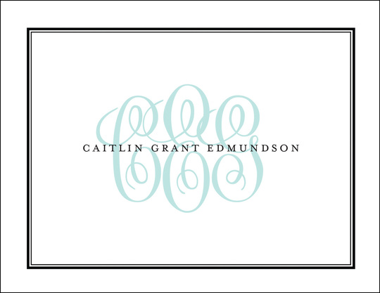 Tailored Monogram Folded Note Cards