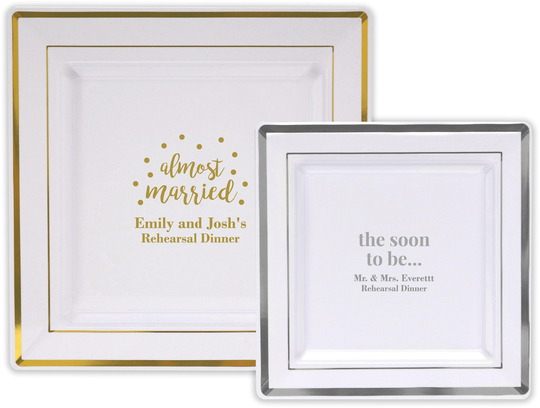 Design Your Own Personalized Banded Square Plastic Plates