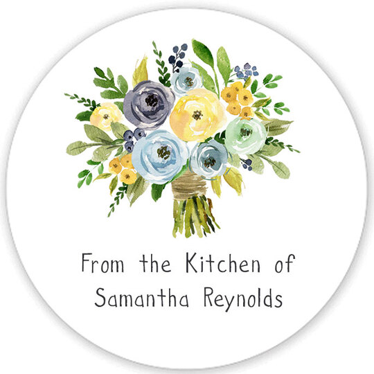 Yellow and Blue Bouquet Kitchen Round Stickers