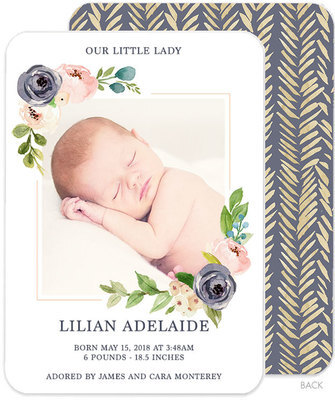 Gray and Ivory Corner Flowers Photo Birth Announcements
